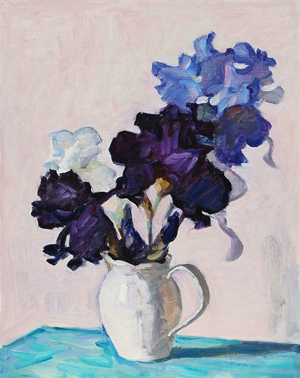 still life with irises oil painting