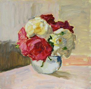 Roses in Round Vase still life oil painting