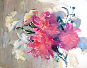 original oil painting on paper peonies