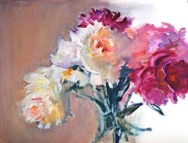 peonies original oil painting on paper