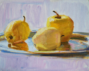 original oil painting still life apples
