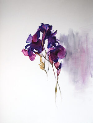irises oil painting on paper