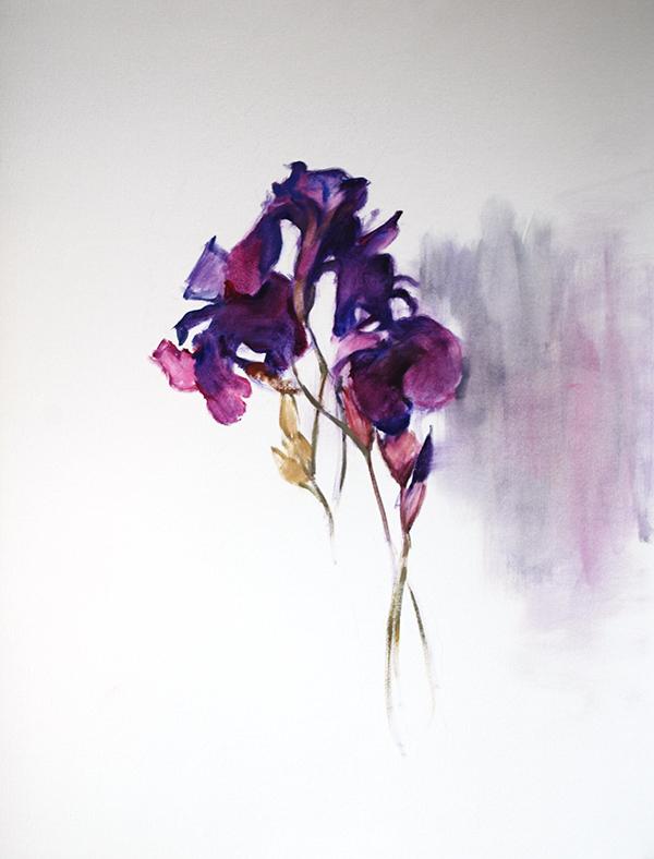 irises oil painting on paper
