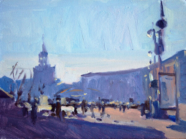 small cityscape oil painting
