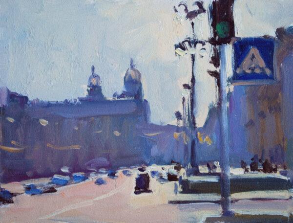 original kyiv cityscape oil on board