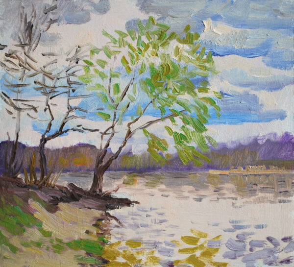 Spring, small plein air study, original colorist oil painting, impressionist landscape art, 7 x 8 unframed