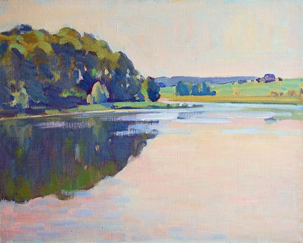 colorist oil painting, original landscape, russian impressionist, plein air art, 16 x 20 unframed