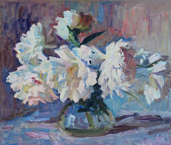 White Peonies original oil painting