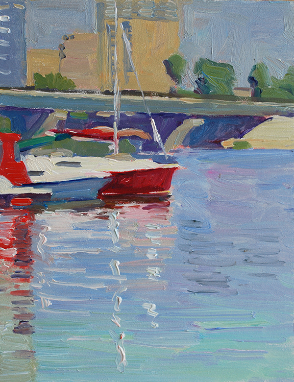 river boats oil painting