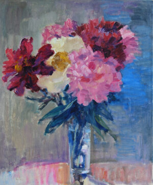 Still Life with Peonies original colorist oil painting