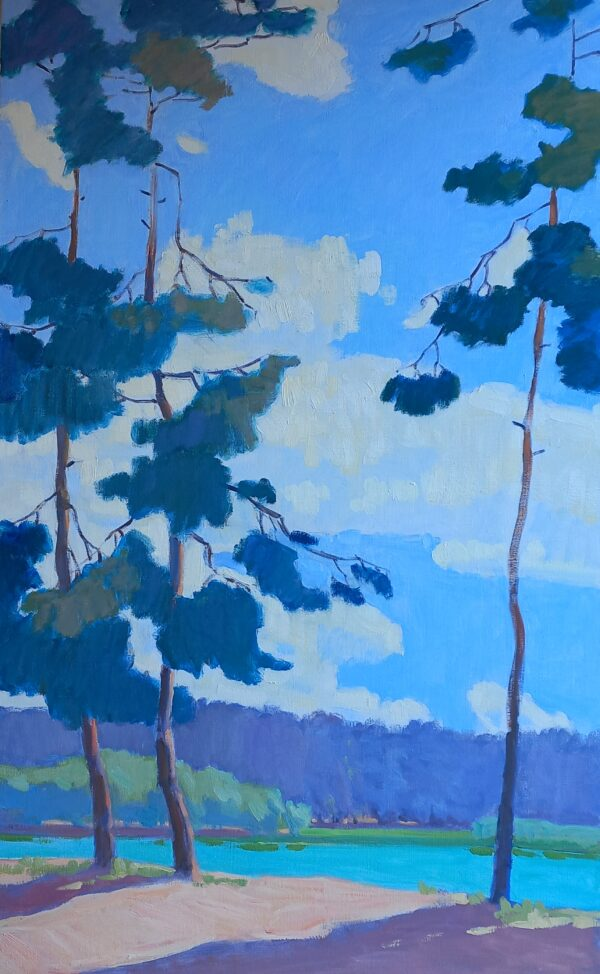 Pines large original oil painting on canvas